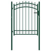 vidaXL Vrata za ograjo s konicami jeklo 100x125 cm zelena