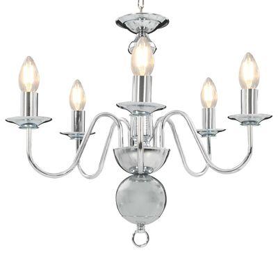 vidaXL Lestenec srebrn 5 x E14 žarnice