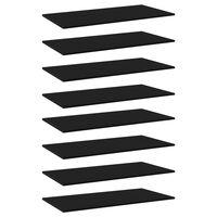vidaXL Dodatne police za omaro 8 kosov črne 80x20x1,5 cm iverna plošča