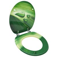 vidaXL Deska za WC školjko MDF zelena dizajn vodne kapljice