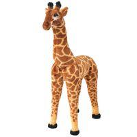vidaXL Stoječa plišasta žirafa rjava in rumena XXL