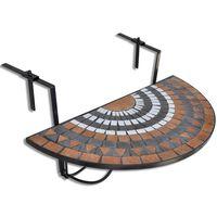 vidaXL Viseča balkonska miza terakota in bela mozaik
