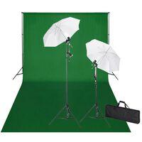vidaXL Studijski komplet z zelenim ozadjem 600x300 cm in luči
