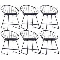 vidaXL Jedilni stoli s sedeži iz umetnega usnja 6 kosov črno jeklo
