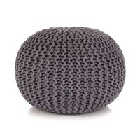 vidaXL Ročno pleteni tabure iz bombaža 50x35 cm siv