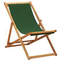 vidaXL Zložljiv stol za na plažo evkaliptusov les in zeleno blago