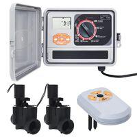 vidaXL Upravljalnik za zalivanje s senzorjem vlage in ventilom