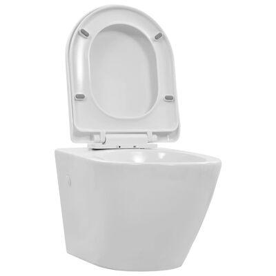 vidaXL Viseča WC školjka brez roba keramična bela