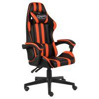 vidaXL Racing stol črno in oranžno umetno usnje