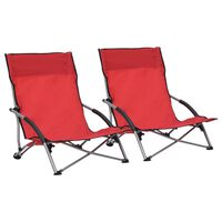 vidaXL Zložljivi stoli za na plažo 2 kosa rdeče blago