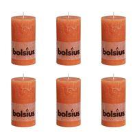 Bolsius rustikalne stebričaste sveče 130 x 68 mm Oranžne barve 6 kosov