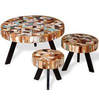 vidaXL 3-delni komplet klubskih mizic trden predelan les