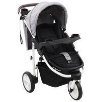 vidaXL Otroški voziček s 3 kolesi siv in črn