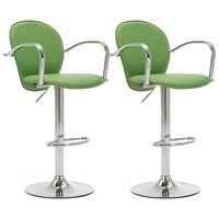 vidaXL Barski stolčki z naslonjali za roke 2 kosa zeleno umetno usnje