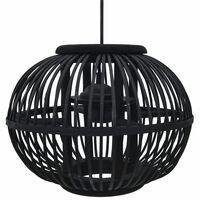 vidaXL Viseča svetilka črna iz vrbe 40 W 30x22 cm okrogla E27
