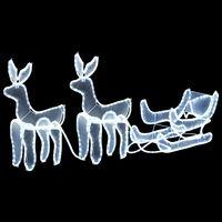 vidaXL Božični okras 2 jelena in sani z mrežo 320 LED lučk