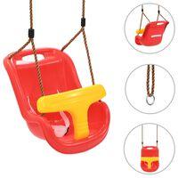 vidaXL Otroška gugalnica z varnostnim pasom PP rdeča