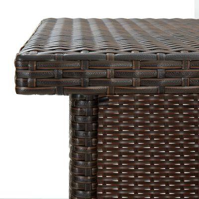 vidaXL Kotna barska miza rjava 100x50x105 cm poli ratan