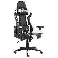 vidaXL Vrtljiv gaming stol bel PVC