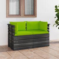vidaXL Vrtni kavč dvosed iz palet z blazinami trdna borovina