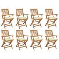 vidaXL Zložljivi zunanji stoli z blazinami 8 kosov trden akacijev les