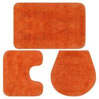 vidaXL Kopalniške preproge 3 kosi blago oranžne barve