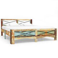 vidaXL Posteljni okvir iz trdnega predelanega lesa 140x200 cm