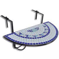 vidaXL Viseča balkonska mizica modra in bela mozaik