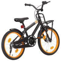 """vidaXL Otroško kolo s prednjim prtljažnikom 18"""" črno in oranžno"""