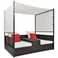 vidaXL Vrtna postelja s streho poli ratan 190x130 cm rjava