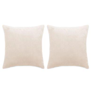 vidaXL Komplet blazin 2 kosa žamet 45x45 cm umazano bele barve