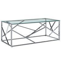 vidaXL Klubska mizica prozorna 120x60x40 cm kaljeno steklo in jeklo