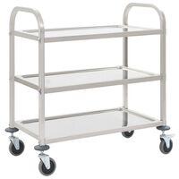 vidaXL Kuhinjski voziček 3-nadstropni 95x45x83,5 cm nerjaveče jeklo
