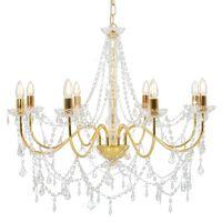 vidaXL Lestenec s kroglicami zlat 8 x E14 žarnice