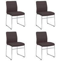vidaXL Jedilni stoli 4 kosi rjavo umetno usnje
