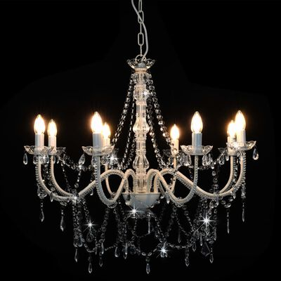 vidaXL Lestenec s kroglicami bel 8 x E14 žarnice
