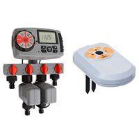 vidaXL Avtomatski časovnik za zalivanje 4 postaje in senzor vlage 3 V