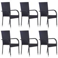 vidaXL Zunanji jedilni stoli 6 kosov poli ratan črne barve