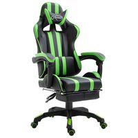 vidaXL Gaming stol z oporo za noge zeleno umetno usnje