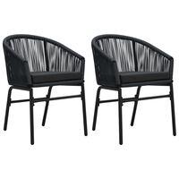 vidaXL Vrtni stoli 2 kosa črn PVC ratan