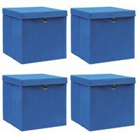 vidaXL Škatle za shranjevanje s pokrovi 4 kosi modre 32x32x32 cm blago