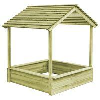 vidaXL Zunanja otroška hiška s peskovnikom 128x120x145 cm borovina