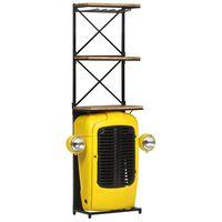 vidaXL Omarica za vino traktor rumena 49x31x170 cm trden mangov les