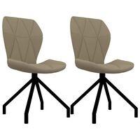 vidaXL Jedilni stoli 2 kosa kapučino umetno usnje
