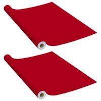 vidaXL Samolepilna folija za pohištvo 2 kosa rdeča 500x90 cm PVC