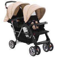 vidaXL Dvojni otroški voziček jeklen taupe in črn