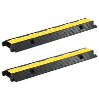 vidaXL Pohodna zaščita za kable 2 kosa 1 kanal guma 100 cm