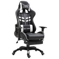 vidaXL Gaming stol z oporo za noge belo umetno usnje