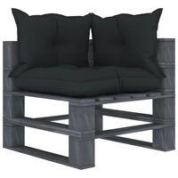 vidaXL Vrtni kotni kavč iz palet z antracitnimi blazinami lesen