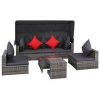 vidaXL Vrtna sedežna garnitura z blazinami 7-delna poli ratan siva